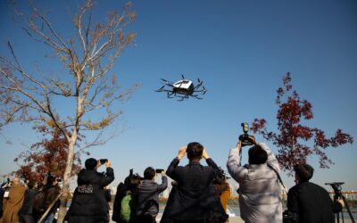 Drone taxi and bags of rice take flight in South Korea